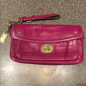 Coach Pink Brass Buckle large clutch